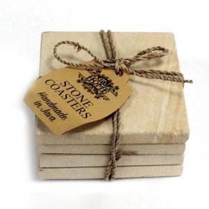 Set of 4 Stone Coasters – Square – Simple Sandstone 9cm