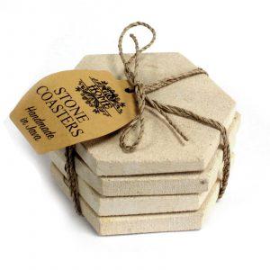 Set of 4 Stone Coasters – Hexagonal Sandstone
