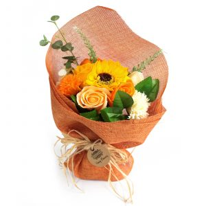 Standing Soap Flower Bouquet – Orange