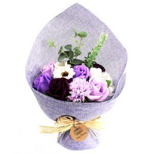 Standing Soap Flower Bouquet – Purple