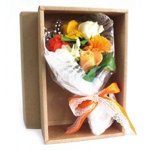 Boxed Hand Soap Flower Bouquet – Orange