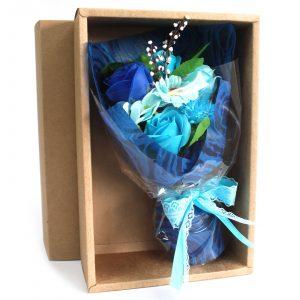 Boxed Hand Soap Flower Bouquet – Blue