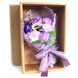 Boxed Hand Soap Flower Bouquet – Purple