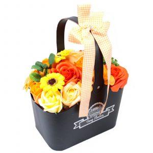 Basket Soap Flower Bouquet – Orange