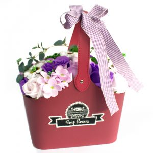 Basket Soap Flower Bouquet – Lilac