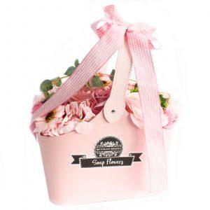 Basket Soap Flower Bouquet – Pink