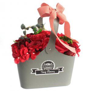 Basket Soap Flower Bouquet – Red