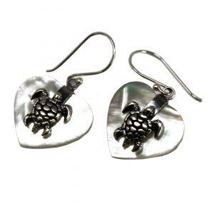 Shell & Silver Earrings – Sea Turtle