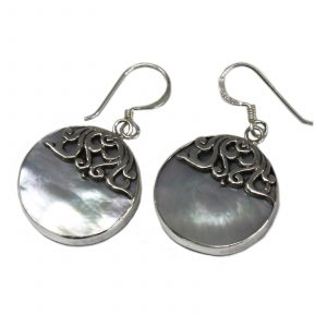 Shell & Silver Earrings – Classic Disc