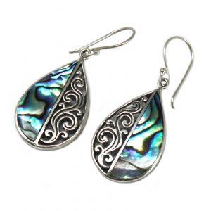 Shell & Silver Earrings – Teardrop- Abalone