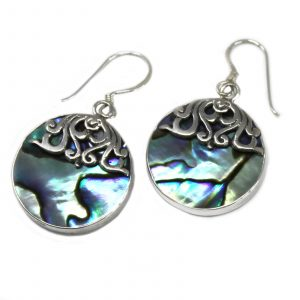 Shell & Silver Earrings – Classic Disc – Abalone