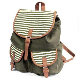 Traveller Backpacks – 2 Pocket Olive Stripe