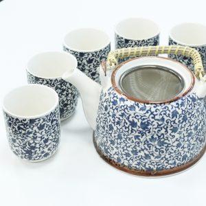Herbal Teapot Set – Blue Pattern