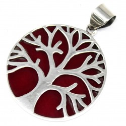 Tree of Life Silver Pendant 30mm – Coral Effect