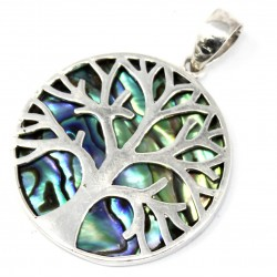 Tree of Life Silver Pendant 30mm – Abalone