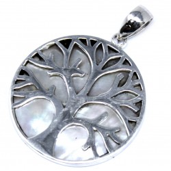 Tree of Life Silver Pendant 30mm – Mother of Pearl