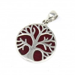 Tree of Life Silver Pendant 22mm – Coral Effect