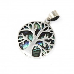 Tree of Life Silver Pendant 22mm – Abalone