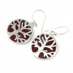 Tree of Life Silver Earrings 15mm – Coral Effect