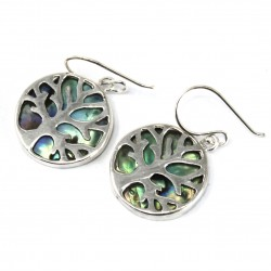 Tree of Life Silver Earrings 15mm – Abalone