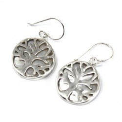 Tree of Life Silver Earrings 15mm – Mother of Pearl