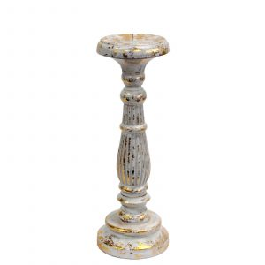 Medium Candle Stand – White & Gold