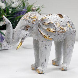 Wood Carved Elephant – White Gold