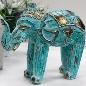 Wood Carved Elephant – Turquoise Gold