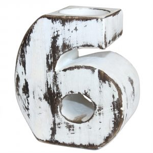 Wooden Birthday Number Candle Holder – No. 6