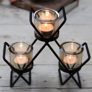 Iron Votive Triple Candle Holder -Triangle