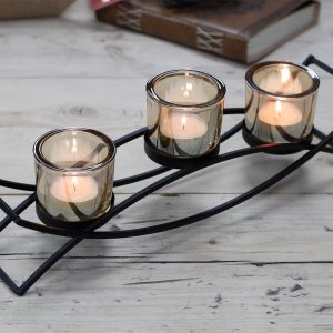 Iron Votive Triple Candle Holder – Silhouette