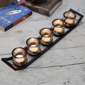 Iron Votive Five Cup Candle Holder – Ledge