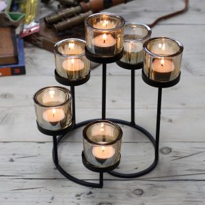 Iron Votive Six Cup Candle Holder – Circle