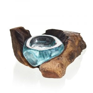 Molten Glass on Wood – Candle Holder