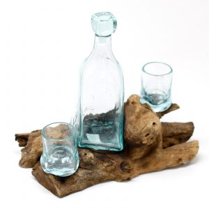 Molten Glass on Wood – Whiskey Set